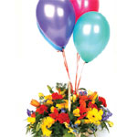 Celebration Basket Arrangement and Four Balloons